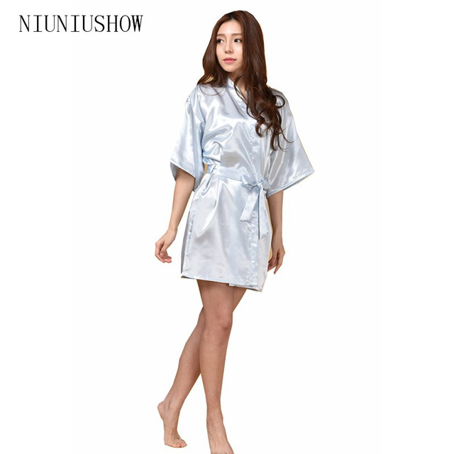 bdb7548009 New Sky Blue Chinese Women Silk Rayon Robe Kimono Bath Gown Sleepwear Sexy  Lingerie Nightgowns Plus Size S M L XL XXL XXXL
