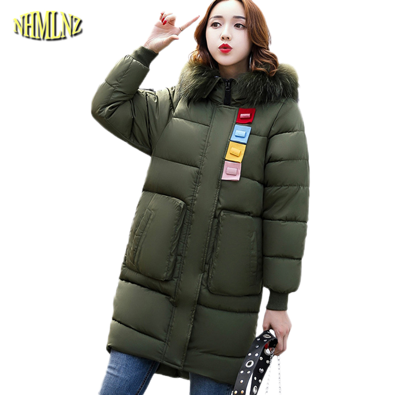 Autumn and winter new fashion ladies solid color Long section zipper Cotton coat Long sleeve Fur collars Warm Comfortable WK060 2016 autumn winter women s casual fashion not as long as before and after long section side seam zipper bags seven snowflakes