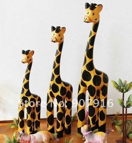 wooden craft arts giraffe handicraft animal desk office car home decoration gift  3pc/set for friends novely