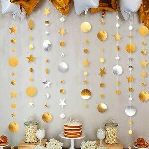Image 1 - 4m 골드 실버 스타 서클 파티 장식 종이 Garlands 웨딩 스크린 장식 생일 파티 용품 소녀 침실 장식
