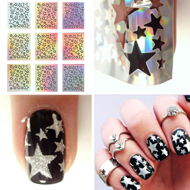 1 Sheet Laser Star Nail Vinyls Stencils Hollow Sticker For DIY Art Decoration