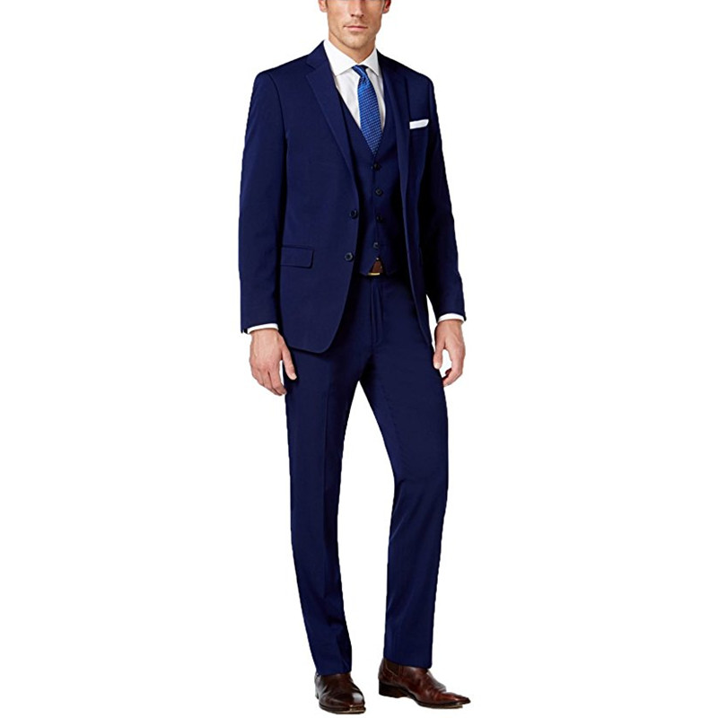 98681c6be8 Custom Made Navy Blue Men Suits Men's Wedding Groom Suit Business Formal 3  Piece Slim Fit Groom Tuxedos (Jacket+Pants+Vest) G507