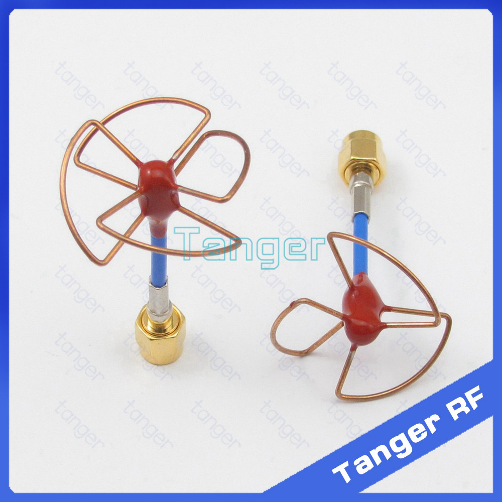 Tanger FPV 5.8GHz Gain Antenna A pair 3 4 Leaf Blade RX TX Circular Polarized Antenna with SMA male plug RG405 RG086 Blue cable skyzone 5 8ghz rhcp 4 leaf fpv antenna tx rx sma rp sma
