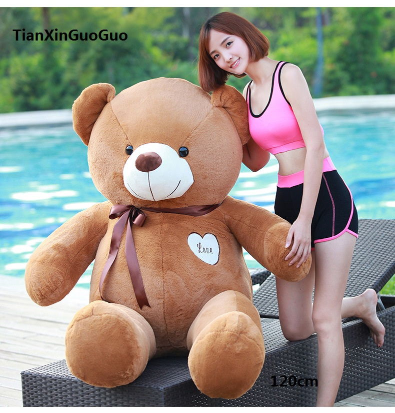 stuffed fillings bear plush toy large 120cm dark brown teddy Bear,love bear doll soft hugging pillow birthday gift b0915 new creative plush bear toy cute lying bow teddy bear doll gift about 50cm