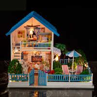 DIY dom dla lalek miniaturowe drewniany domek dla lalek Mini Casa meble Villa budynku zestawy akcesoria zabawki dla dzieci dorosłych K004 # E