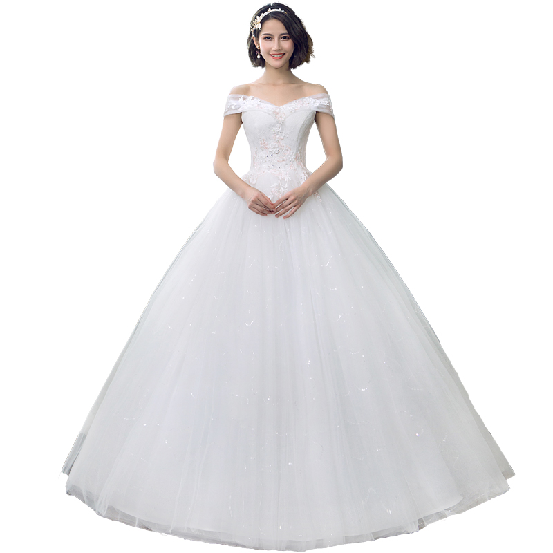 2019 New Arrival Heart Neck Lace Wedding Dress Lace Up Ball Gown Off The Shoulder Princess