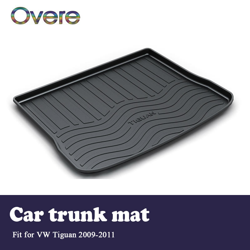 Overe 1Set Car Cargo rear trunk mat For VW Tiguan 2009 2010 2011 Boot Liner Styling Waterproof Carpet Anti-slip mat Accessories цена