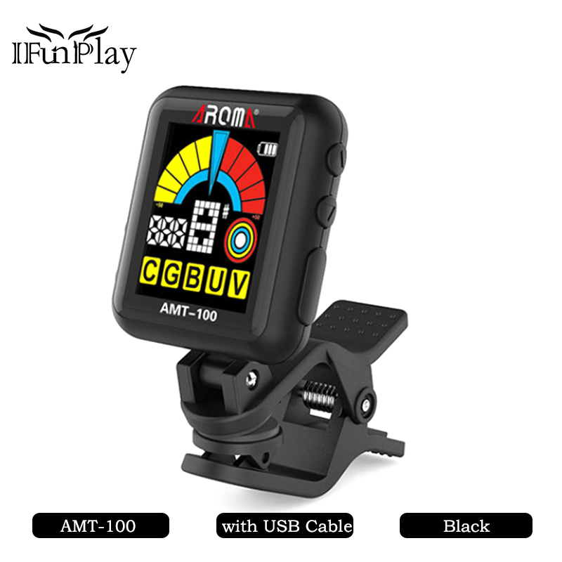 aroma amt 100 at 102 clip on guitar tuner metronome 2 in 1 with built in battery usb cable for. Black Bedroom Furniture Sets. Home Design Ideas