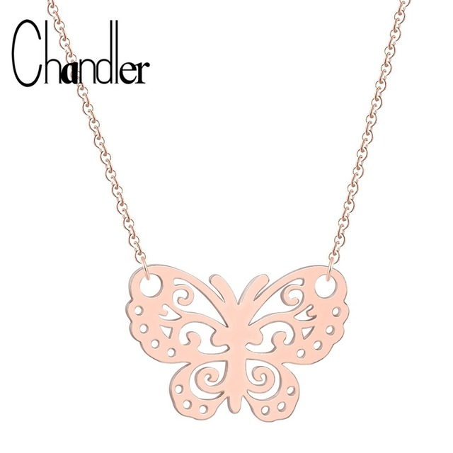 Chandler Silver Hollow Out Butterfly Necklace For Women Thin Minimalist Origami Pendant Colier Stainless Steel Metallic Bijoux