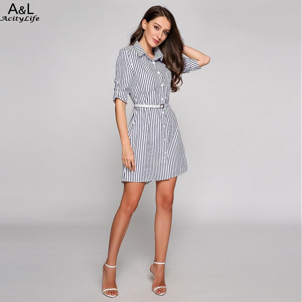 558d2d3f29 FANALA rayas camisa vestido mujeres moda Casual Roll Up manga larga  bolsillo vuelta hacia abajo Collar camisa vestido con cinturón en Vestidos  de La ropa de ...