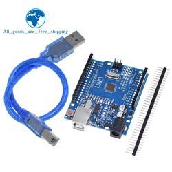 Placa de desarrollo TZT UNO R3 ATmega328P CH340 CH340G para Arduino UNO R3 con cabezal de Pin recto