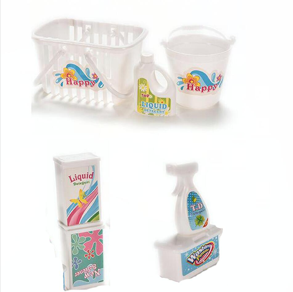 NK 7 Pcs/Set  Doll Accessories Furniture Funny Toys  Mini Doll Kitchen Cleaning Sets Doll House Accessories For Barbie Doll