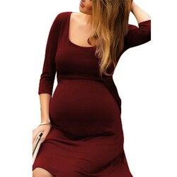 Nueva venta caliente de las mujeres embarazadas vestido largo vestido de lactancia vestido de noche de chándal de traje de maternidad vestidos de tamaño S-2XL de enfermería vestidos