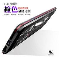 Huawei社の名誉8 5.2インチオリジナルluphieアルミ金属バンパーケースデュアルカラースリムフレームカバーメタル電話ケースluphie