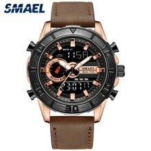 Часы SMAEL мужские, спортивные, водонепроницаемые, с кожаным ремешком, кварцевые, наручные, мужские часы, SL 1411