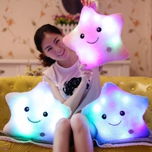 Luminous Stuffed LED Light Up Plush Glow Lucky Star Pillow Auto 7 Color Rotation Illuminated Pentagram Shaped Cushion Gift