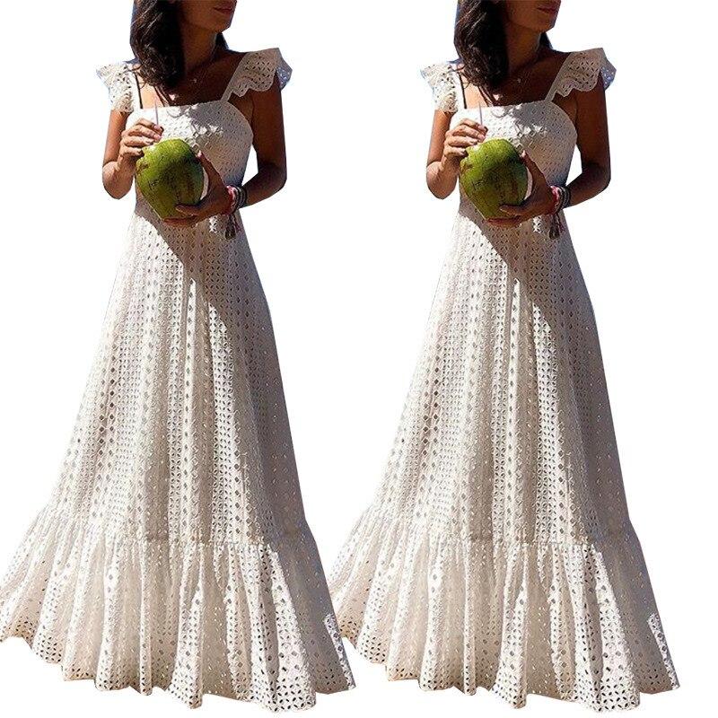 ボヘミアン白レースドレス自由奔放に生きるビーチシックなドレスの女性のマキシかわいい女性のプラスサイズ夏ロング大サイズ 最も安い ZOGAA vestidos