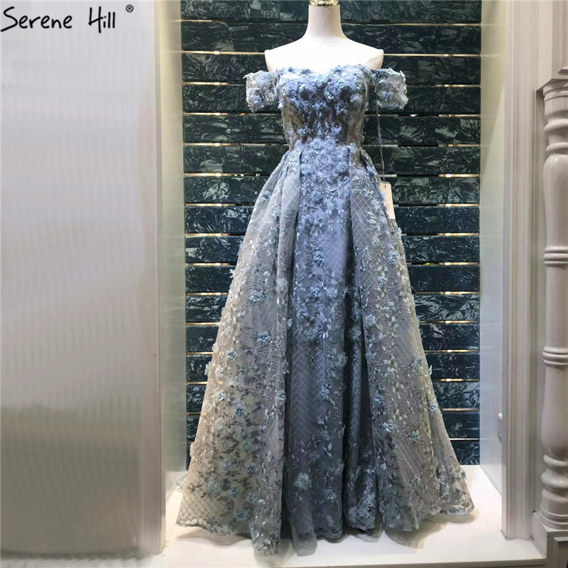 Newest Grey Handmade Flowers Pearls Evening Dresses 2019 A-Line Off Shoulder Sexy Fashion Evening Gowns LA6627