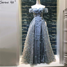 Newest Grey Handmade Flowers Pearls Evening Dresses 2020 A Line Off Shoulder Sexy Fashion Evening Gowns LA6627