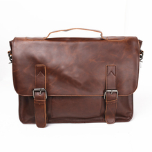 New Men/Women Casual Briefcase Business Shoulder Bag Leather Messenger Bags 14 inch Computer Laptop Handbag Men's Travel Bags(China)