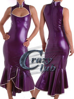 Latex Erotic Girls Latex Long Dresses Sexy Women Purple latex dress sleeveless Customized Dress Fetish Fast Delivery