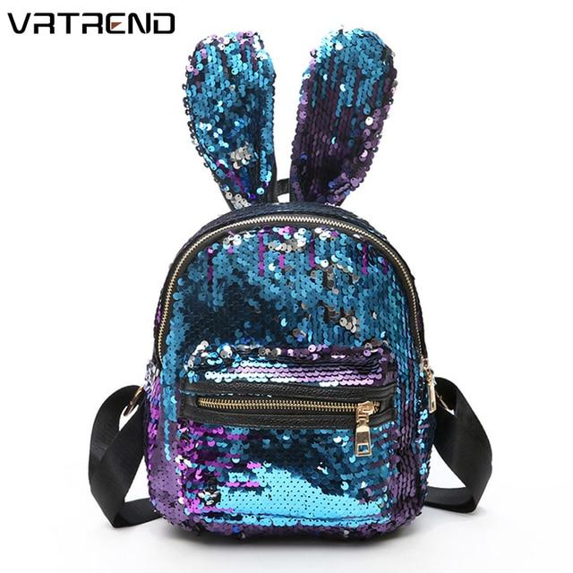 959706c349 VRTREND Newest Sequins Women Backpacks Bling Rabbit Ears Double Shoulder  School Bags Female Backpack Girls Travel