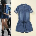 XS-3XL Macacao feminino 2016 denim jumpsuit Top Quality Women vintage Washed Jeans Denim Casual loose Jumpsuit Romper Overalls