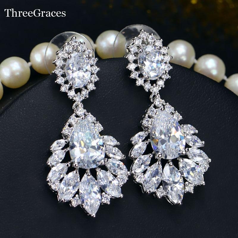 ThreeGraces Šperky Vintage Stříbrná barva Kubický Zirconia Crystal Dlouhé velké lustrové náušnice pro ženy Denní šaty ER001