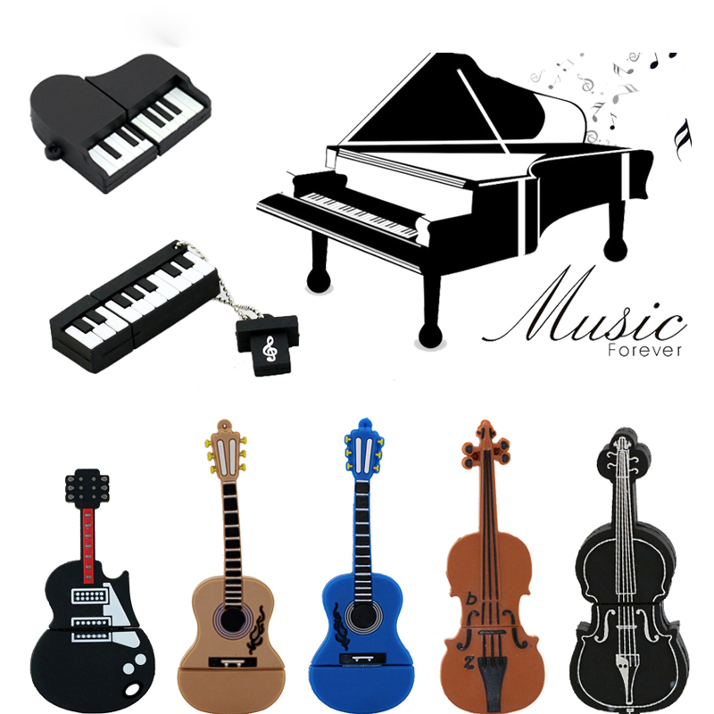 9 stilarter Musical Instruments Model USB-flashdrev violin / piano / guitar Pen drive 64gb 8gb 16gb 32gb flash memory stick u disk
