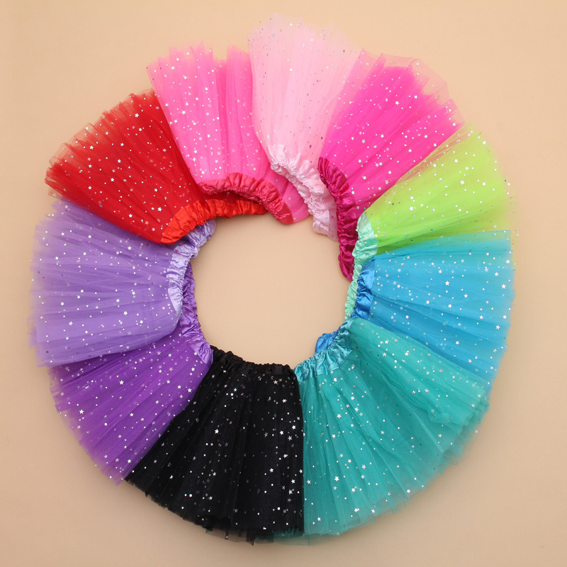 2T kids girl star glitter dance tutu skirt sequin with 3 layers tulle tutu toddler girl chiffon pettiskrit