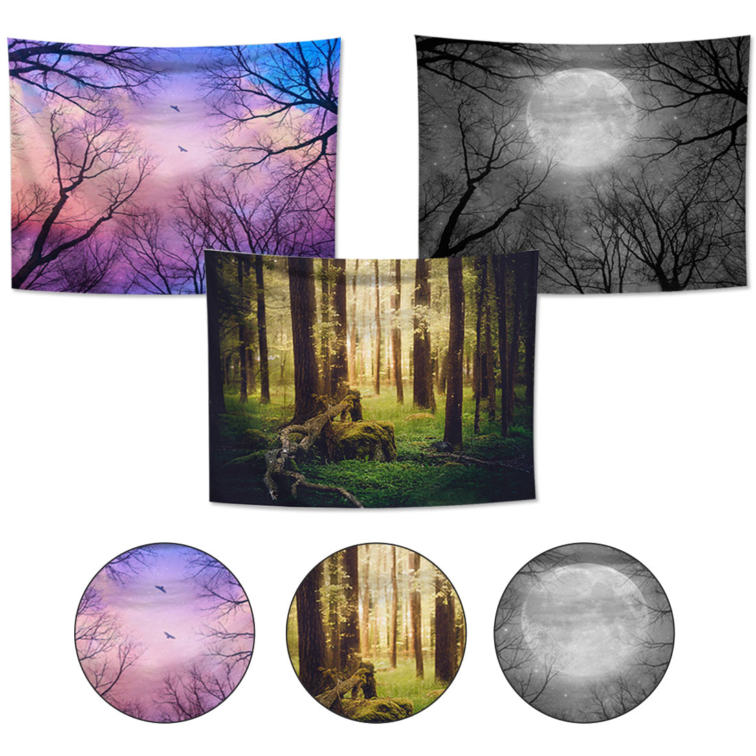150x130cm/200x150cm Night Scenic Tapestry Wall Hanging Decor Star Plant Printed Carpet Hanging Living Printing Wall Tapestry