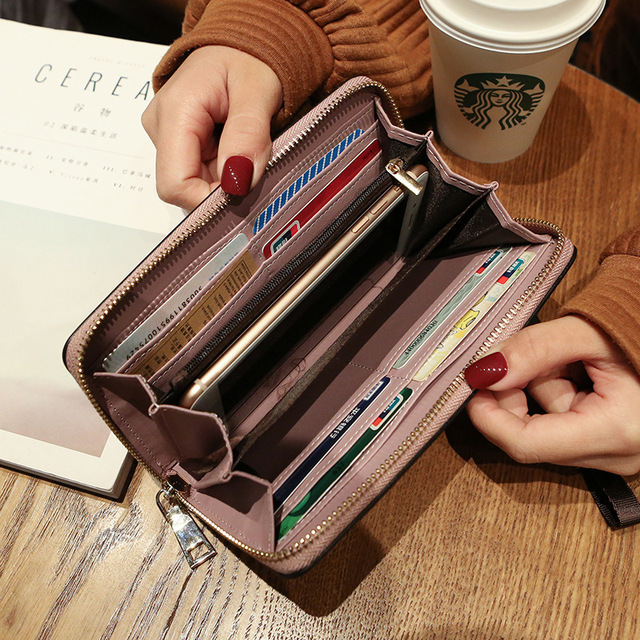 Wallet women mobile phone bag Brand Designer Female card PU Leather Long Womens Wallets and purses Ladies slim card holder purse 2