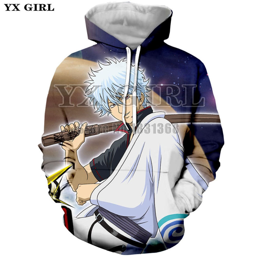YX GIRL Autumn Fashion Mens  Womens Hoodies 3D Print Anime Gintama Funny Cute Long Sleeve Top Casual Hip-hop Pullover