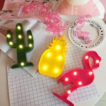D LED Flamingo Night Lights DIY Party Room Decor Pineapple Cactus heart Luminary Wall Lamp Cartoon Animal Decor Lighting Gifts