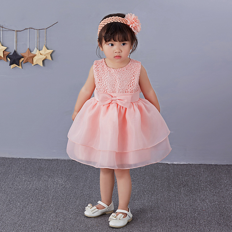 Pink 1 Year Old Baby Girl Dress Princess Wedding Birthday Formal Vestido 2018 Toddler Baby Clothes for Party RBF164704