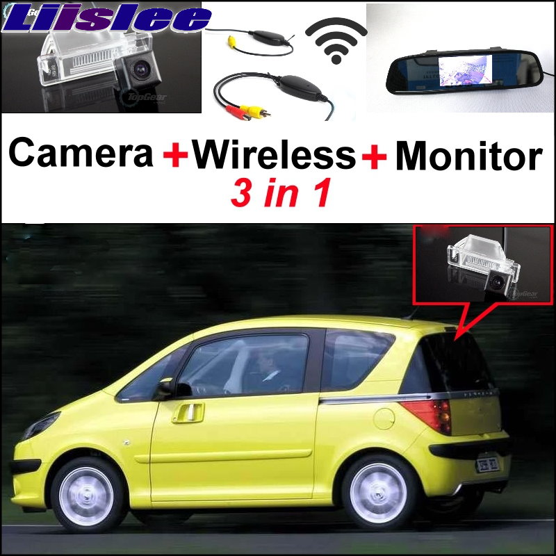 Liislee 3 in1 Special Camera + Wireless Receiver + Mirror Monitor Easy DIY Back Up Parking System For Peugeot 106 1007 207 207CC