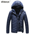 2016 new fashion men's   hooded leisure men thin down jacket 5 pure colors plus size S-3XL 903
