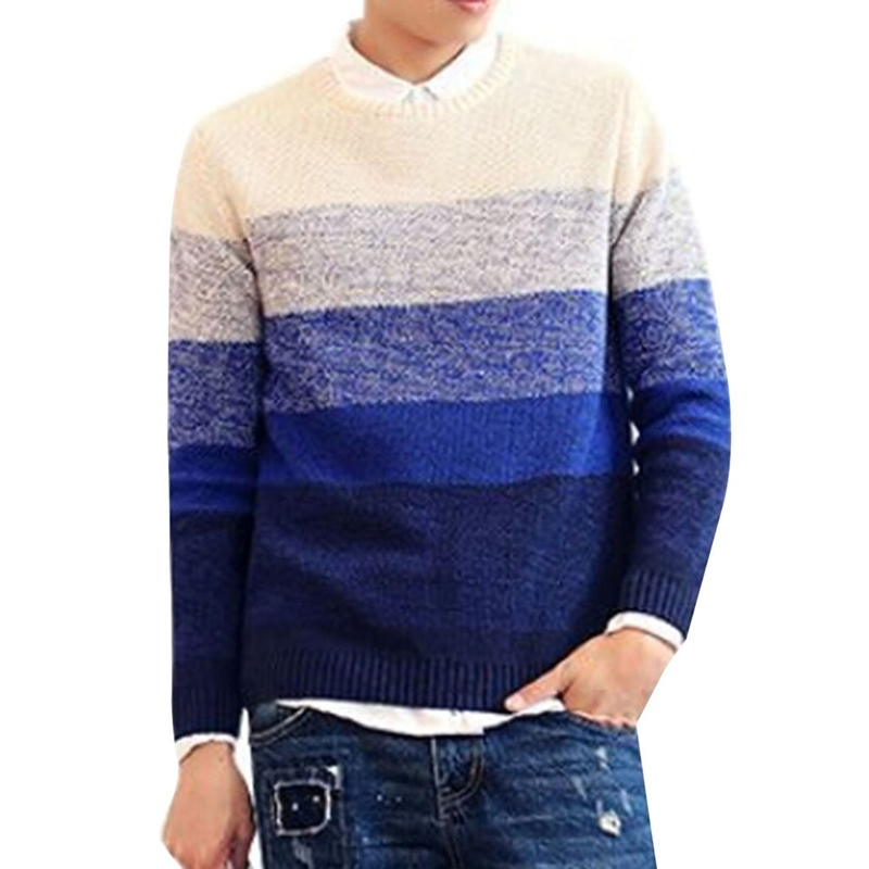 2018 Autumn Winter Wool Striped Sweater Men Brand Casual Blue Male Sweater O-Neck Slim Fit Knitting Men Sweaters Pullovers