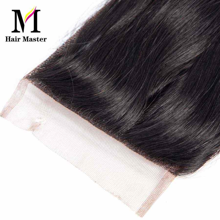 Haar Master 100% Brasilianische Menschliches Haar Gerade 8-20 Inch 4*4 Spitze Schließung Mitte Freies Drei Teil natürliche Farbe Nicht-Remy Schließung