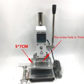 Digital Hot Foil Gold Stamping Machine 5*7CM Manual Embossing Bronzing 300W Pressure Mark Machine for Leather PVC PU 110V/ 220V