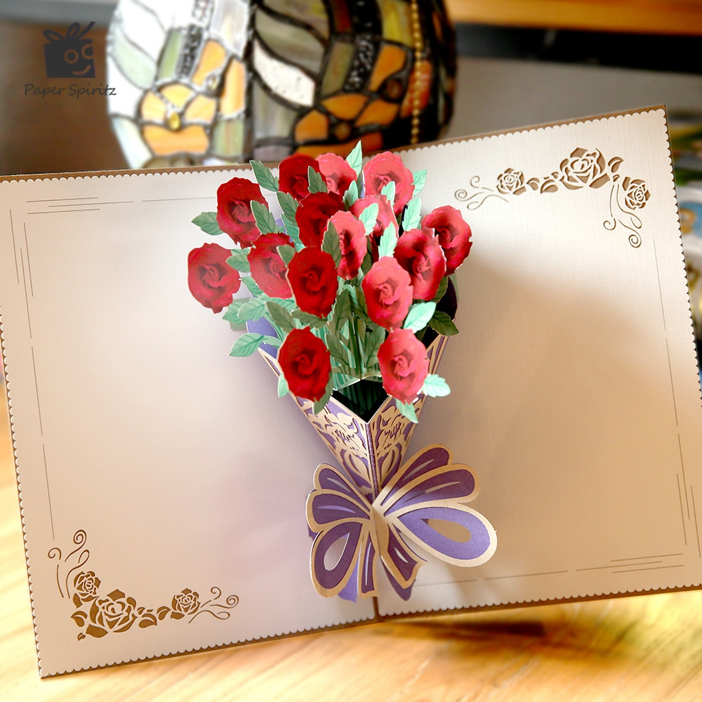 Creative Wedding Invitation Card 3D Red Rose Bouquet Laser Cut Pop ...
