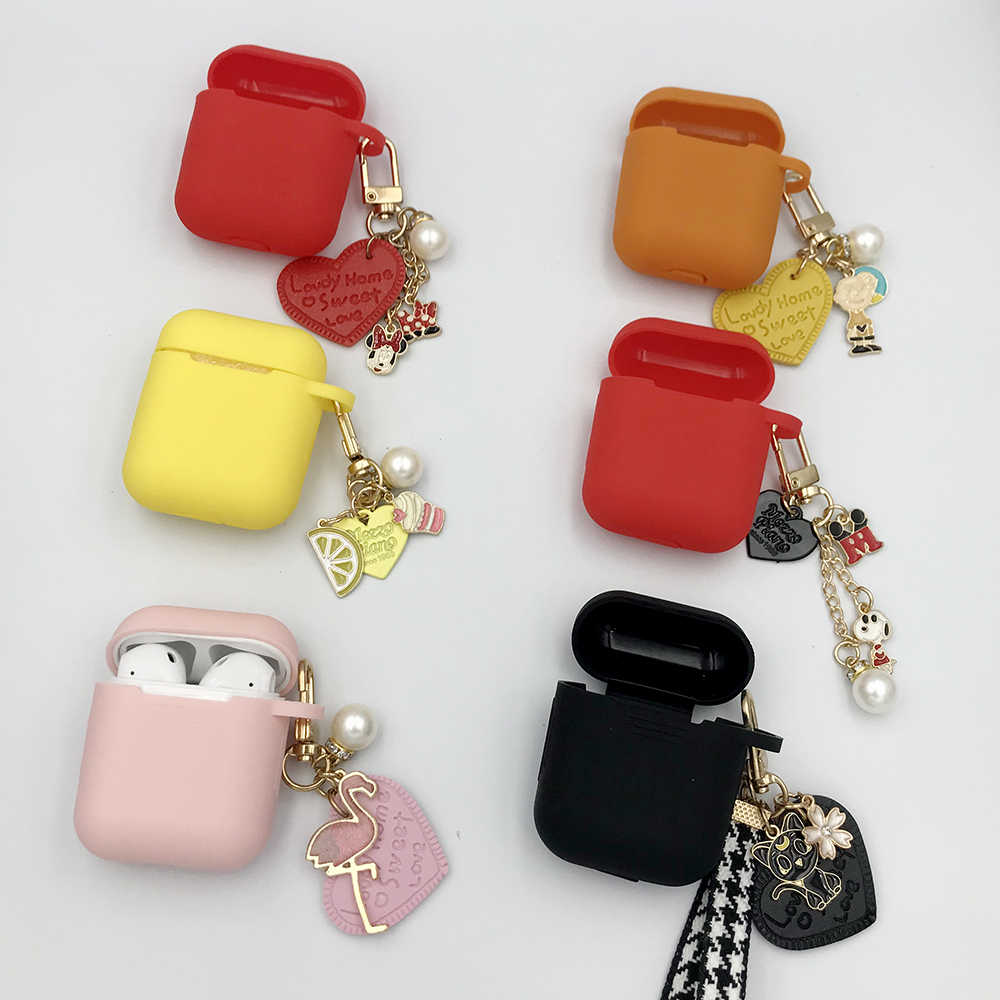 Cute Earphone Protective Case for AirPods Silicone Bluetooth Earphone Case For Apple AirPods Charger Box Cover Anti-lost Gift