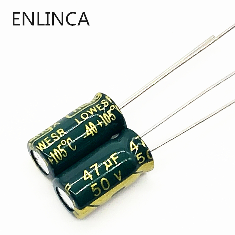 20pcs/lot P72 High Frequency Low Impedance 50v 47UF Aluminum Electrolytic Capacitor Size 6*12 47UF 20%