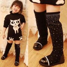 Fur Baby Snow Boots Winter Female Child Fashion Girls Princess Rhinestone Knee length Martin Boots Child