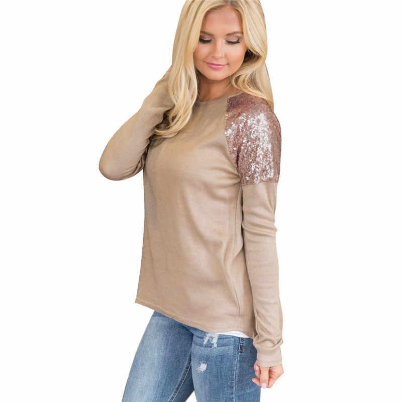 Cekiny koszulka Patchwork Casual O-neck kobiety koszulki damskie koszulki z długim rękawem Casual kobiet Bling panie Splice odzież