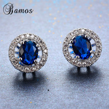 Bamos Women Blue Round Stud Earring With AAA Zircon 925 Ster