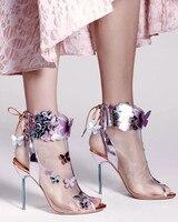 Новое поступление милая Свадебная вечеринка летняя Туфли под платье Для женщин с открытым носком на высоком каблуке сетки Сандалии для дев
