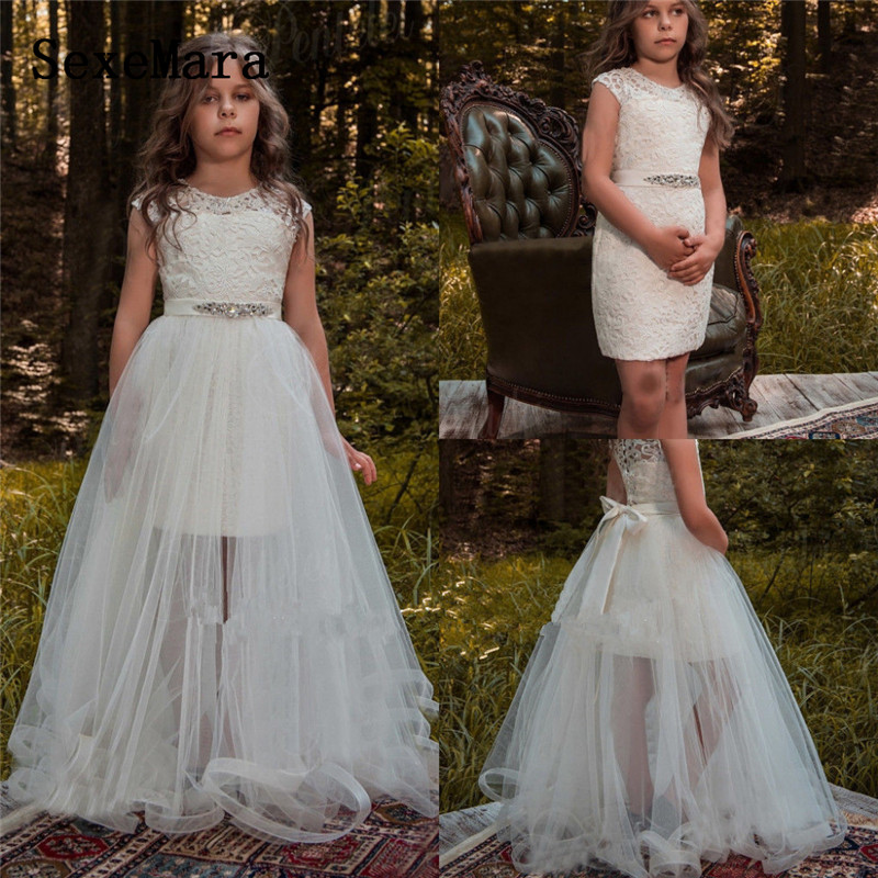 Two Pieces White Ivory Flower Girl Dresses For Weddings With Sash Teens Cloth Overskirt Gown First Communion Dresses Size 2-14Y