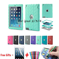 For iPad 2/3/4 Retina Kids Baby Safe Armor Shockproof Heavy Duty Silicone Hard Case Cover Screen Protector Film+Stylus Pen