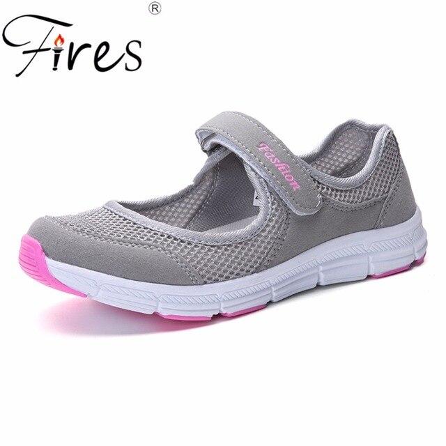 Для женщин кроссовки летняя дышащая прогулочная обувь Открытый сетки Antislip спортивные женские кроссовки мать подарок Комфорт Свет Туфли без каблуков